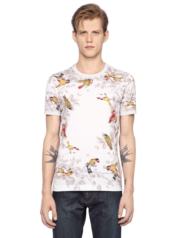 Dolce gabbana birds printed cotton jersey t shirt in for Dolce and gabbana printed t shirts