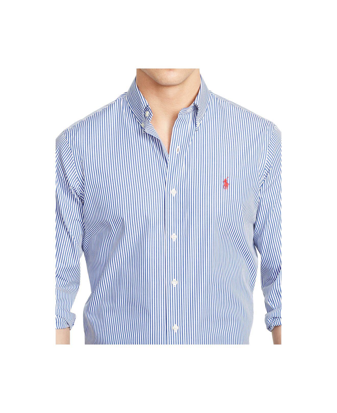 ede2dd8e5a4 Lyst - Polo Ralph Lauren Slim-fit Striped Poplin Shirt in Blue for Men