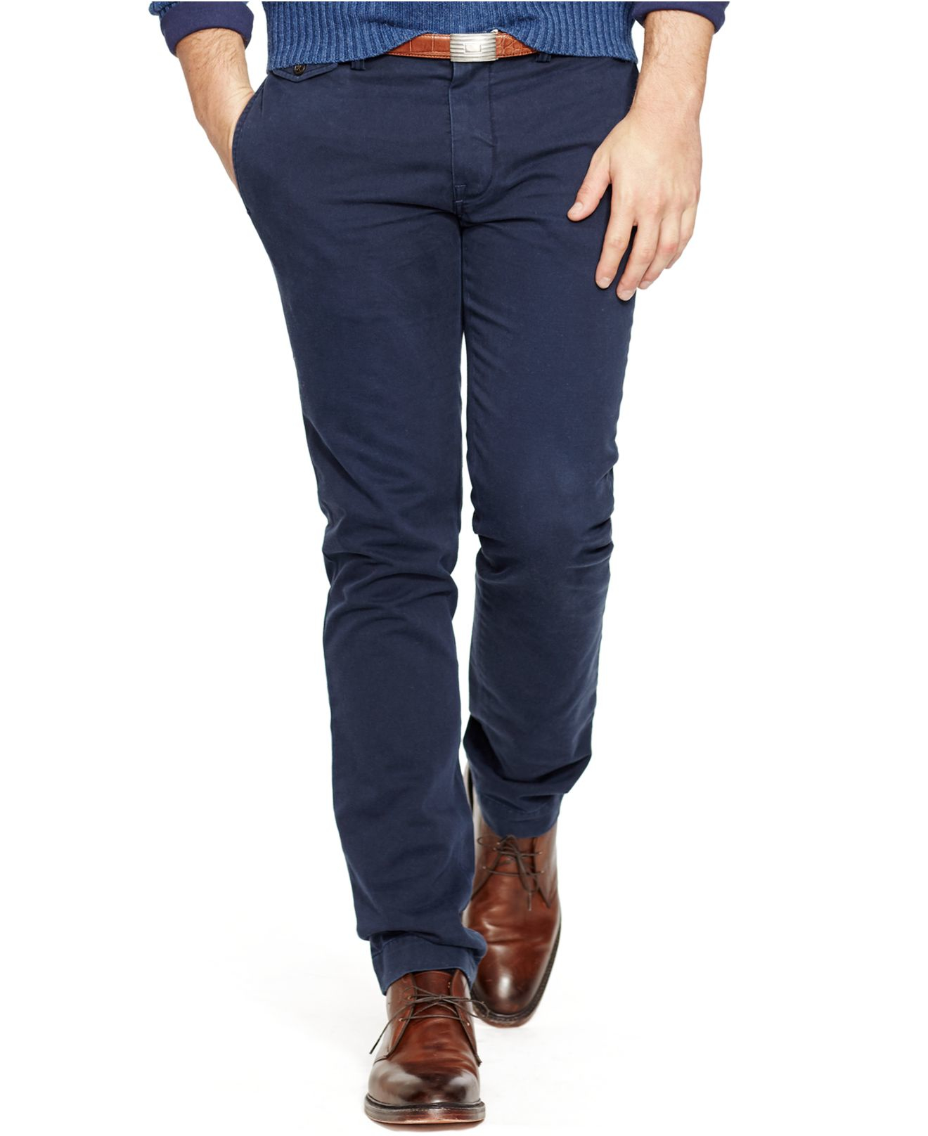 new list latest releases fast color Polo Ralph Lauren Blue Slim-fit Bedford Chino Pants for men