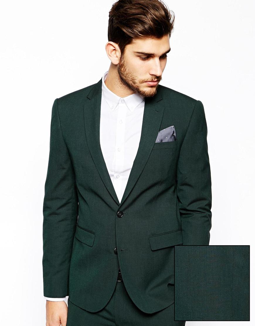 ASOS Slim Fit Suit Jacket In Dark Green in Green for Men ...