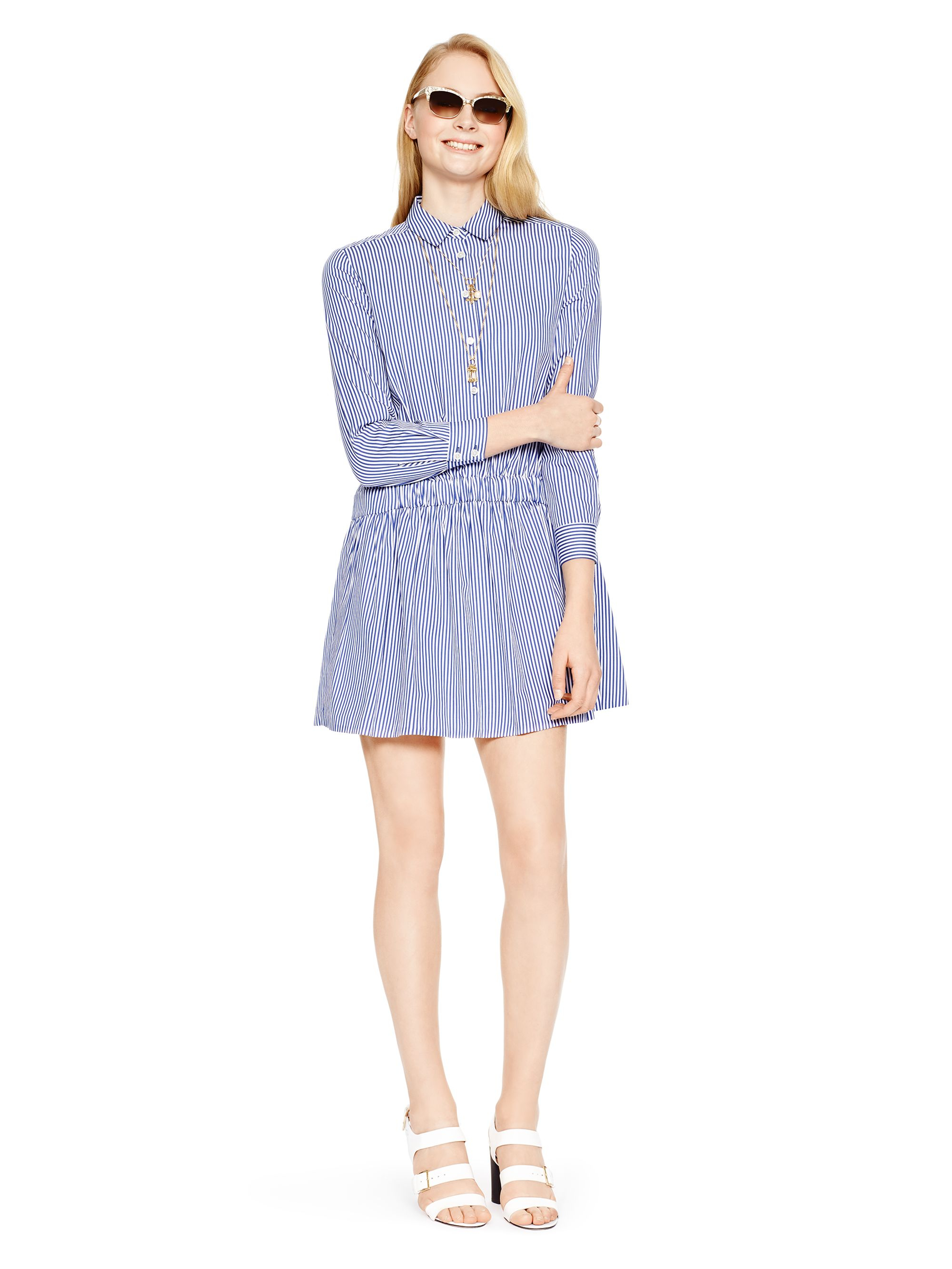Lyst kate spade new york stripe shirtdress in blue for New york and company dress shirts