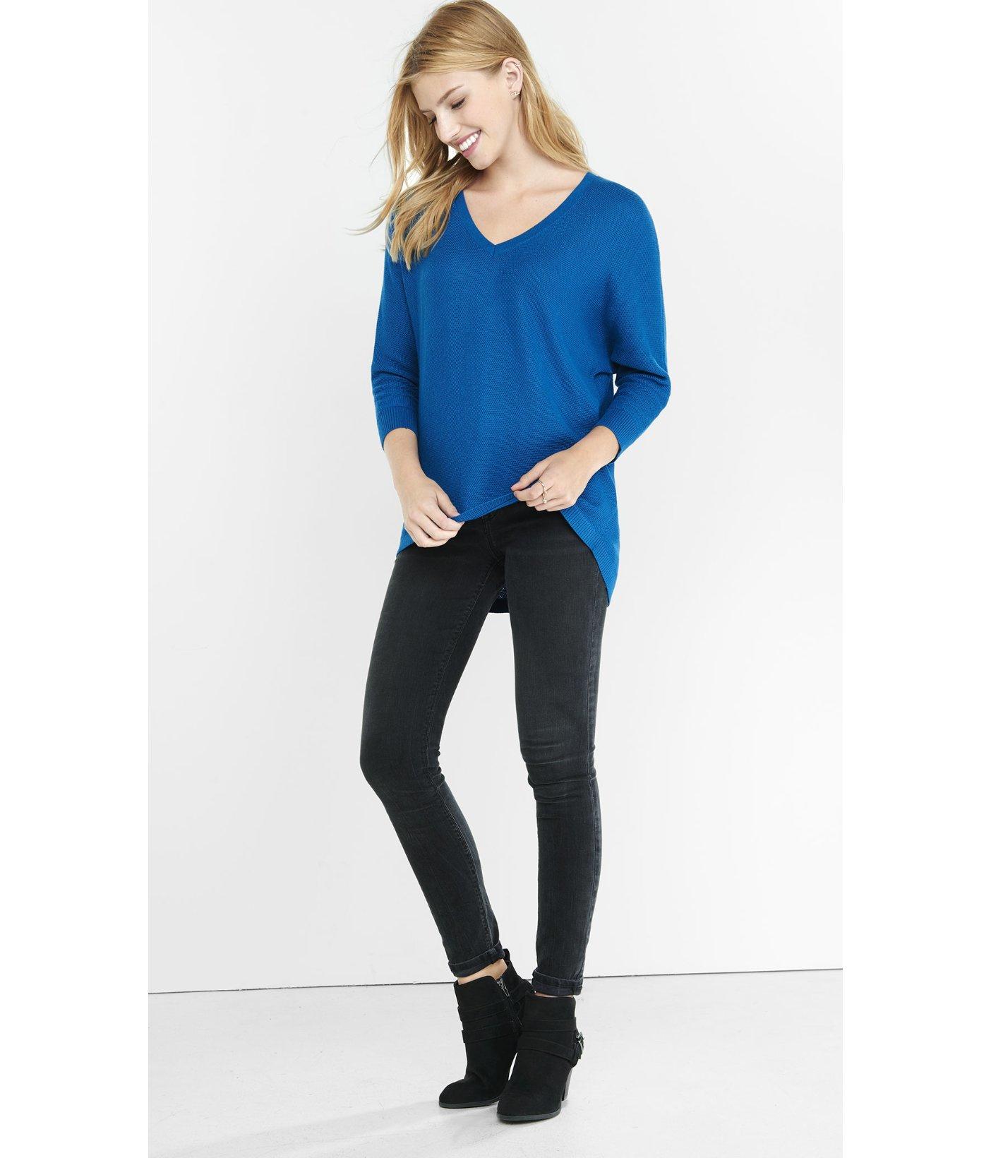 Express Textured Zip Back Hi-lo Hem Sweater in Blue | Lyst