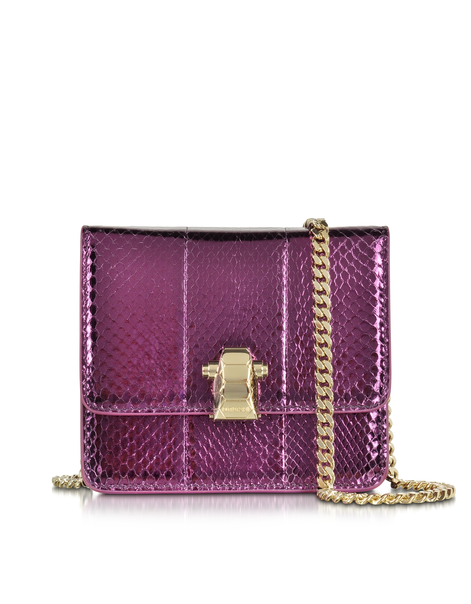 Roberto Cavalli Metallic Leather Purple Studded Flower Shoulder Bag t5MpNPiGFe