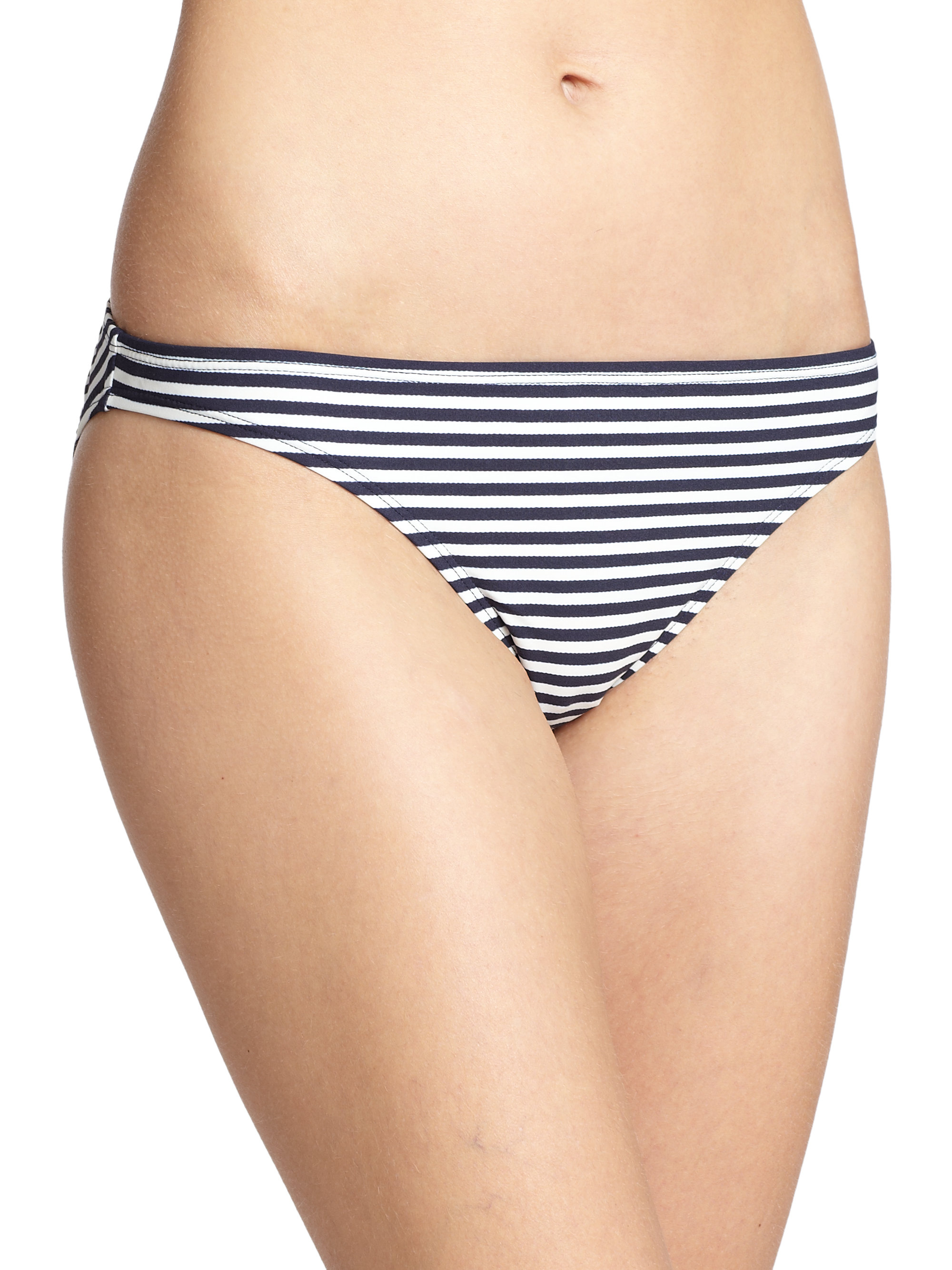 0ead134d2692e Lyst - Tory Burch Classic Stripe Bikini Bottom in Blue