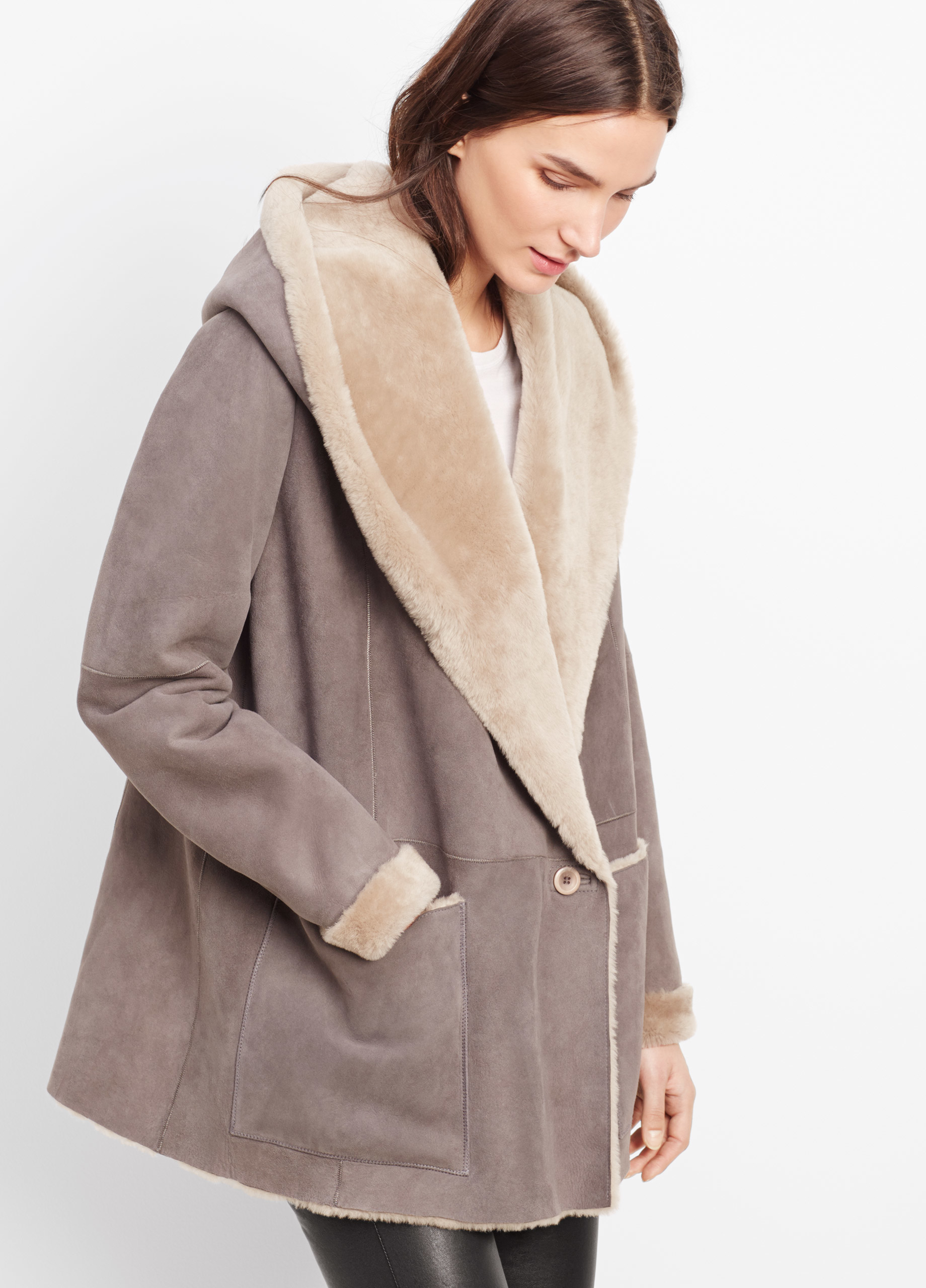 Vince Shearling Drape Coat With Hood in Gray | Lyst