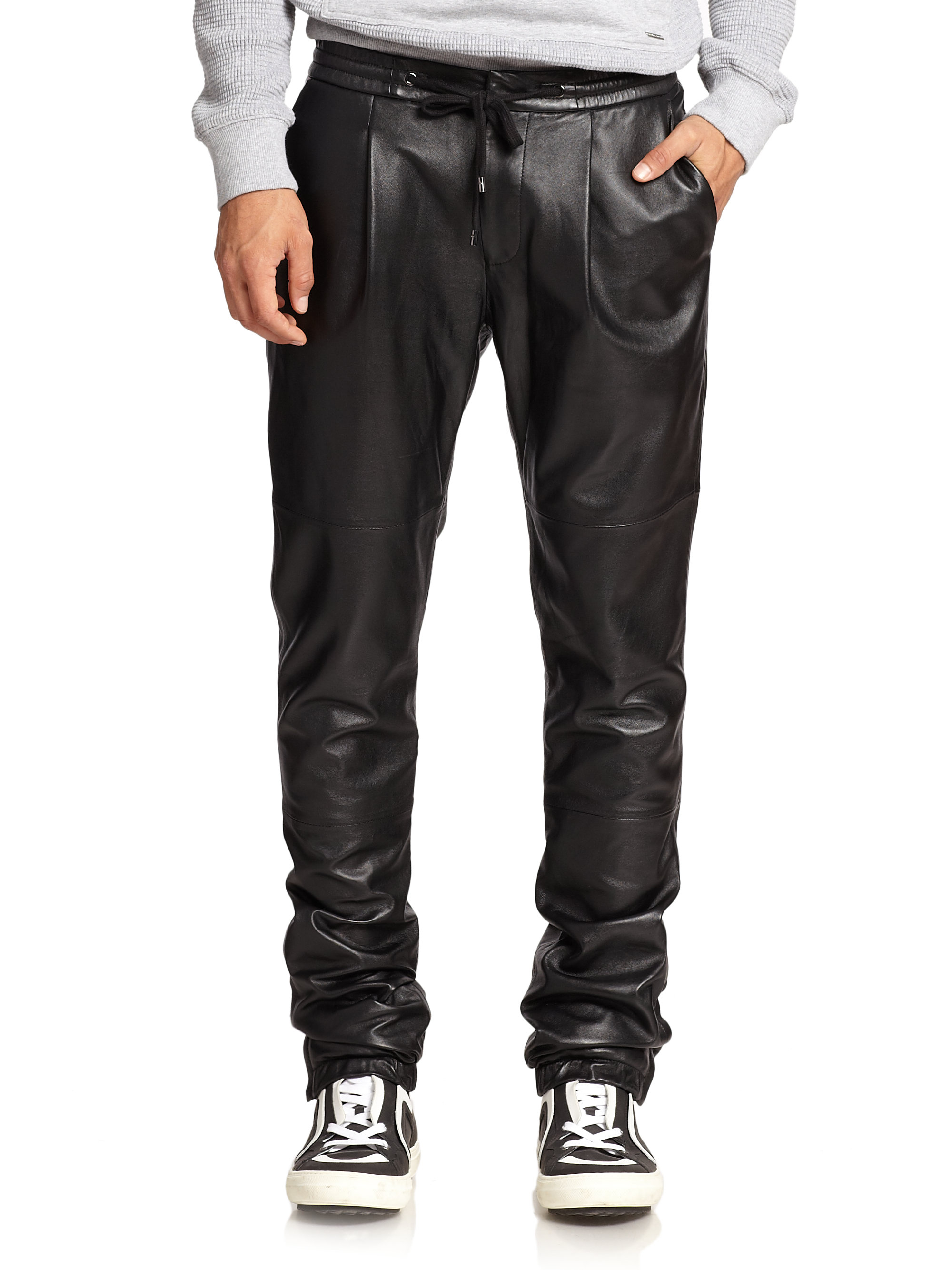Lyst Michael Kors Leather Track Pants In Black For Men