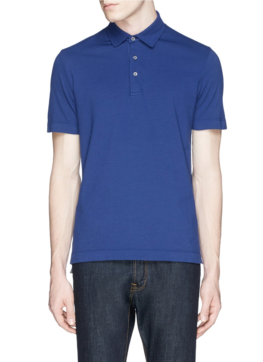 Lyst canali cotton piqu polo shirt in blue for men for Cotton on polo shirt