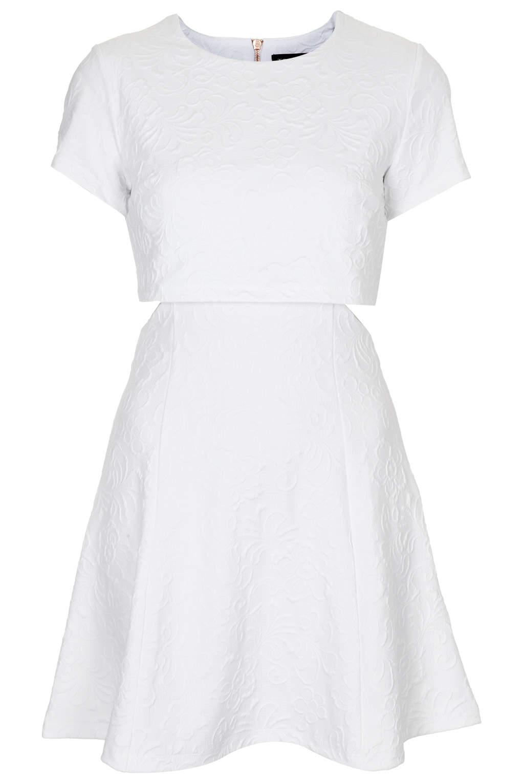Topshop Texture Crop Skater Dress In White Lyst