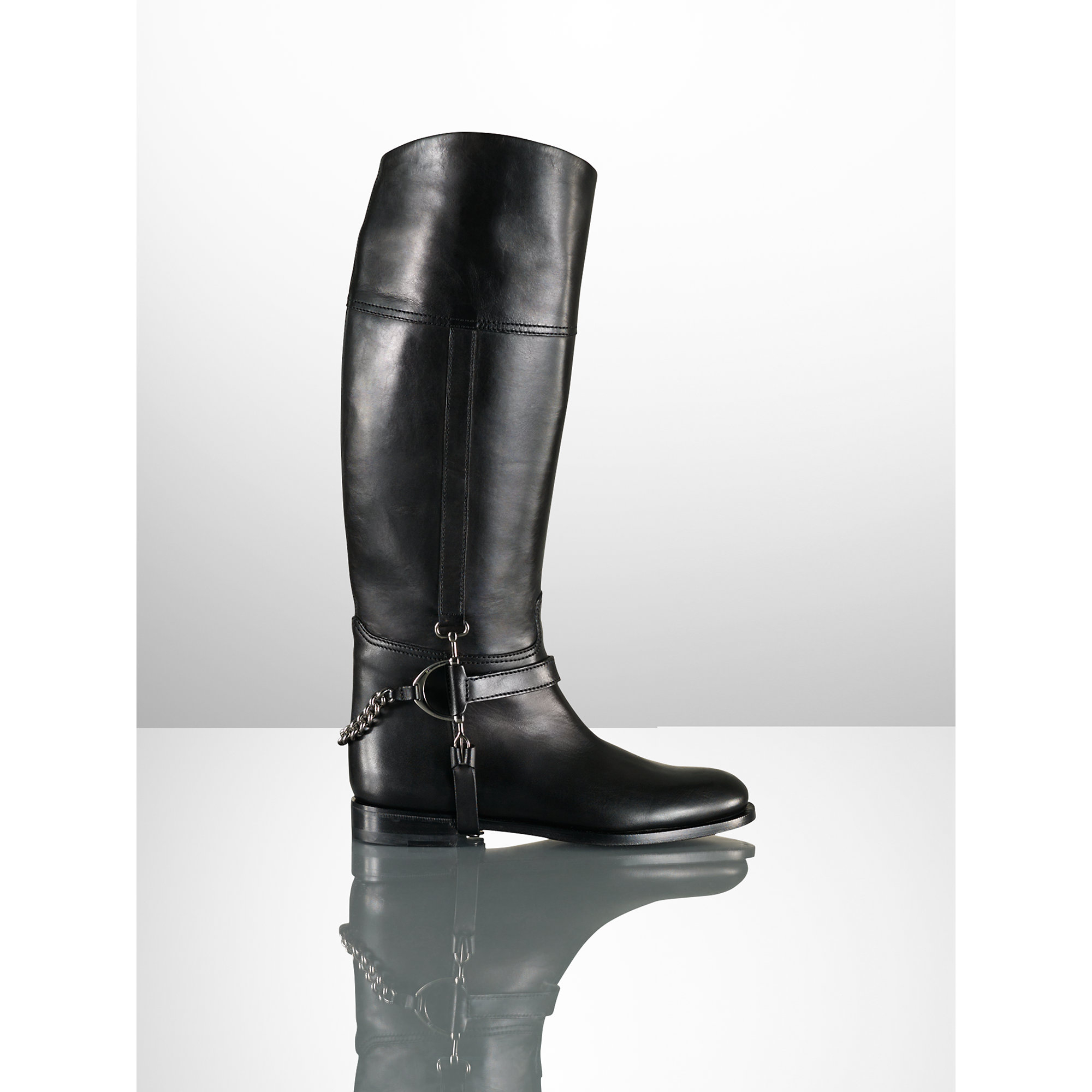 Lyst - Ralph Lauren Calf Chain Sandra Riding Boot in Black
