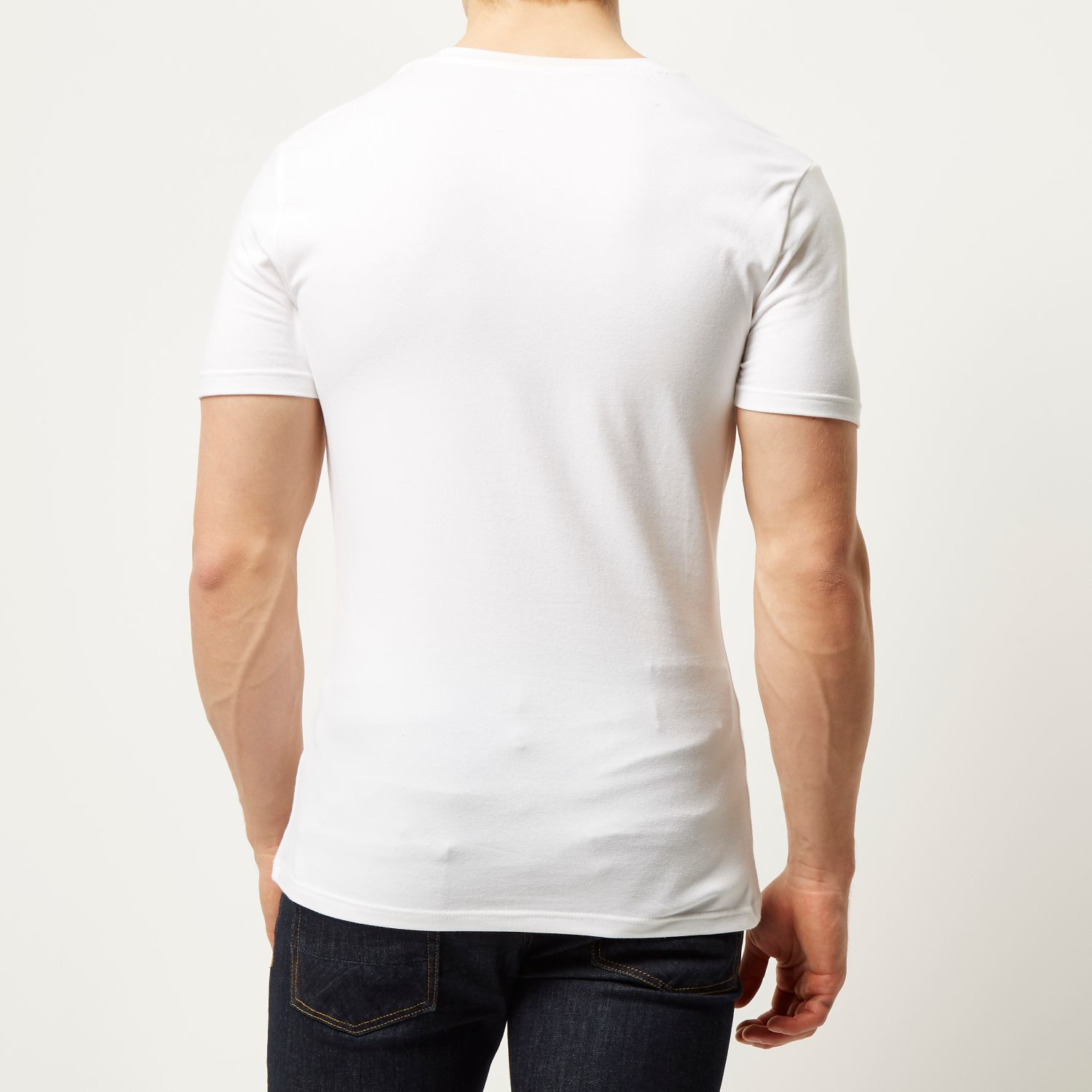 Mens Black rib muscle fit V neck T-shirt River Island Cheap Very Cheap For Sale Online Store Hot Sale Cheap Price Buy Cheap Geniue Stockist Buy Cheap Good Selling iS4WD