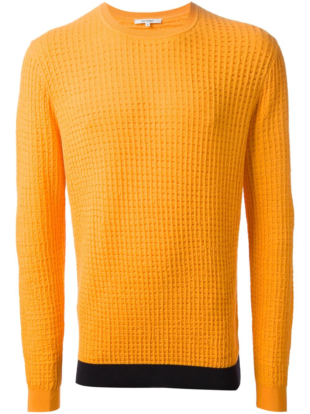 Carven Waffle Knit Sweater in Orange for Men | Lyst