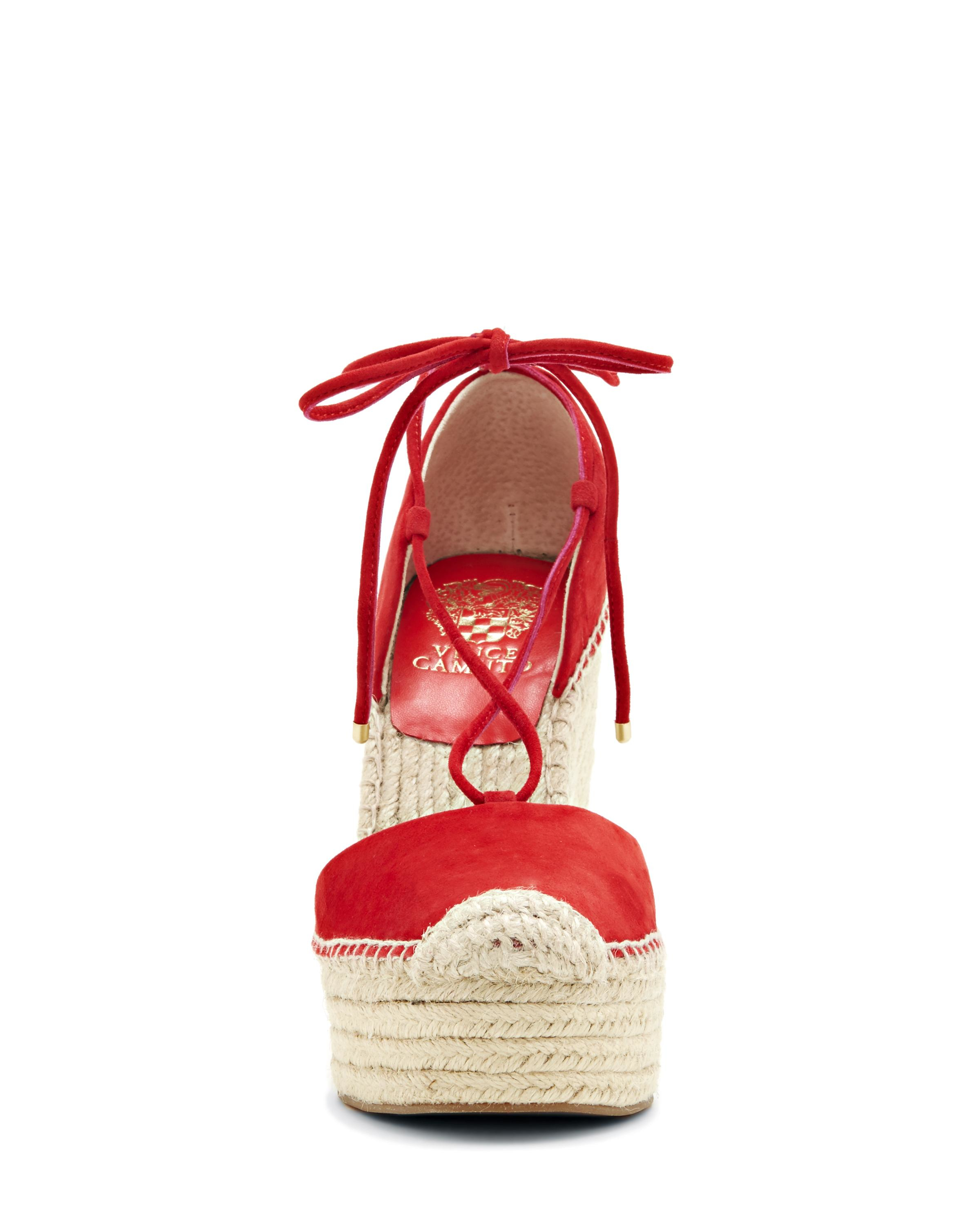 08ad7dd528f Lyst - Vince Camuto Airlia - Platform Espadrille Tie Wedge in Red