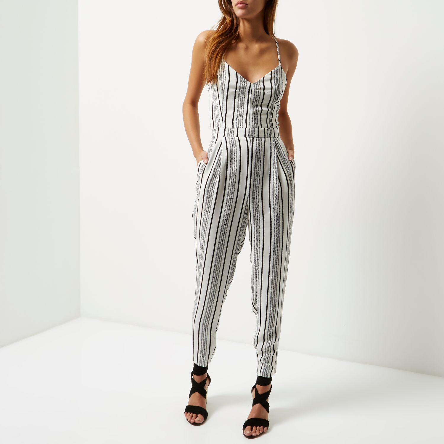 36529176c2d River Island White Stripe Tapered Jumpsuit In White
