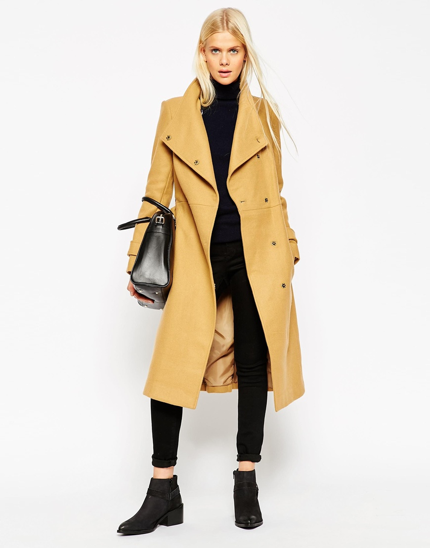 asos coat with funnel neck and belt in wool in natural lyst. Black Bedroom Furniture Sets. Home Design Ideas