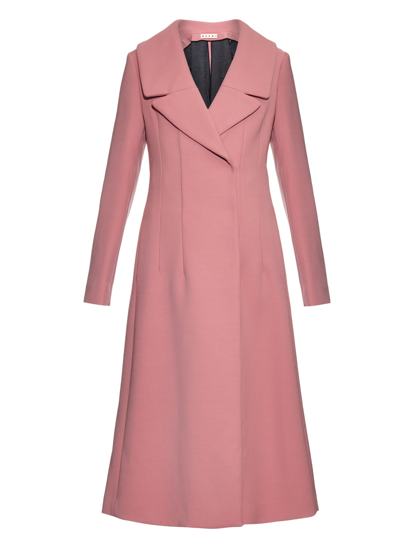 Lyst Marni Wide Notch Lapel Wool Blend Coat In Pink