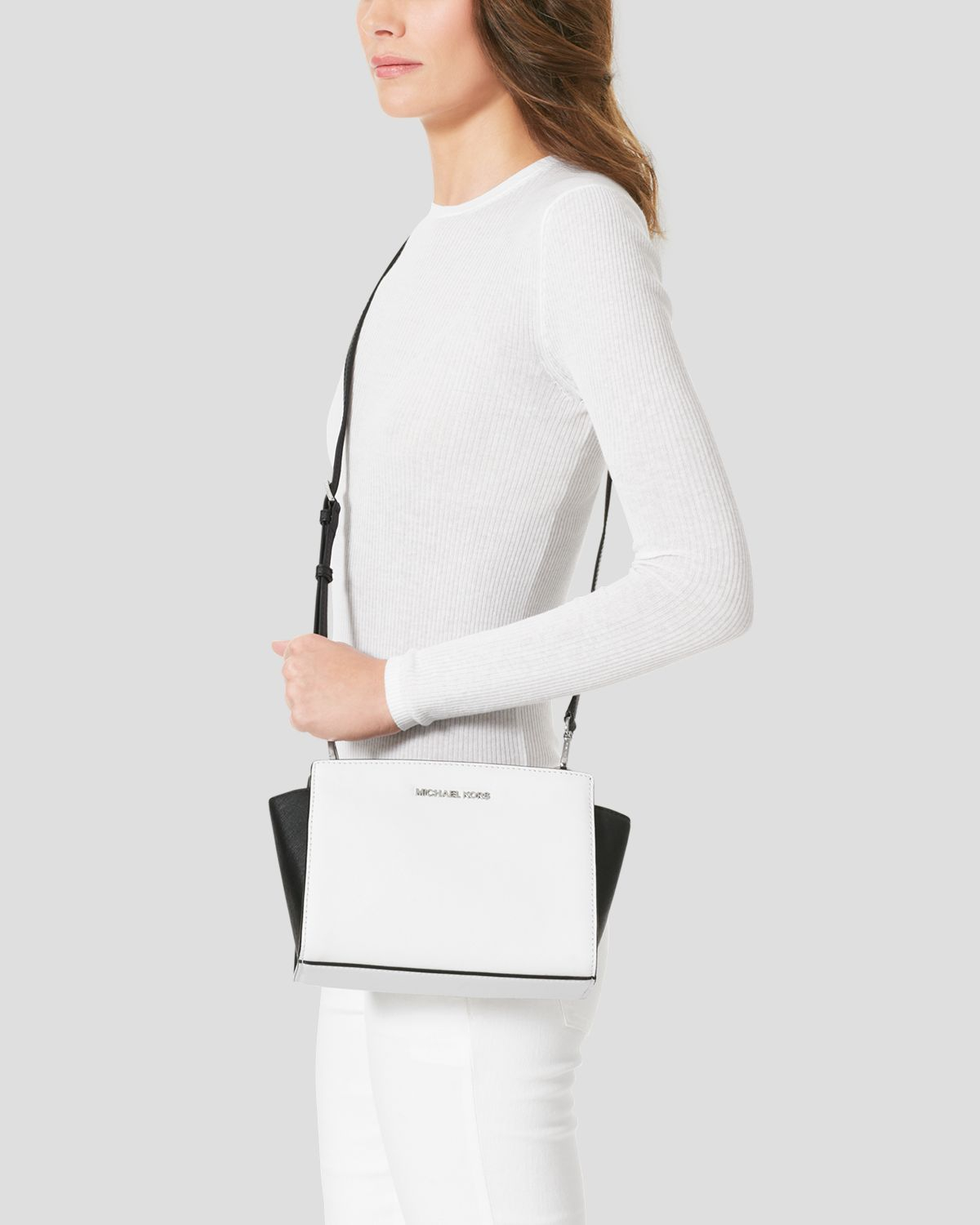 526a6aae57f5 ... new style lyst michael michael kors crossbody selma medium colorblock  messenger in white 16627 1aa0a