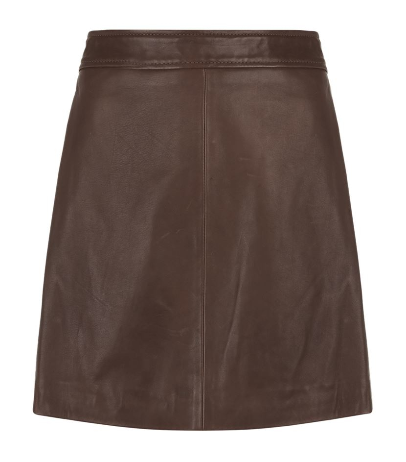 reiss amira leather skirt in brown lyst