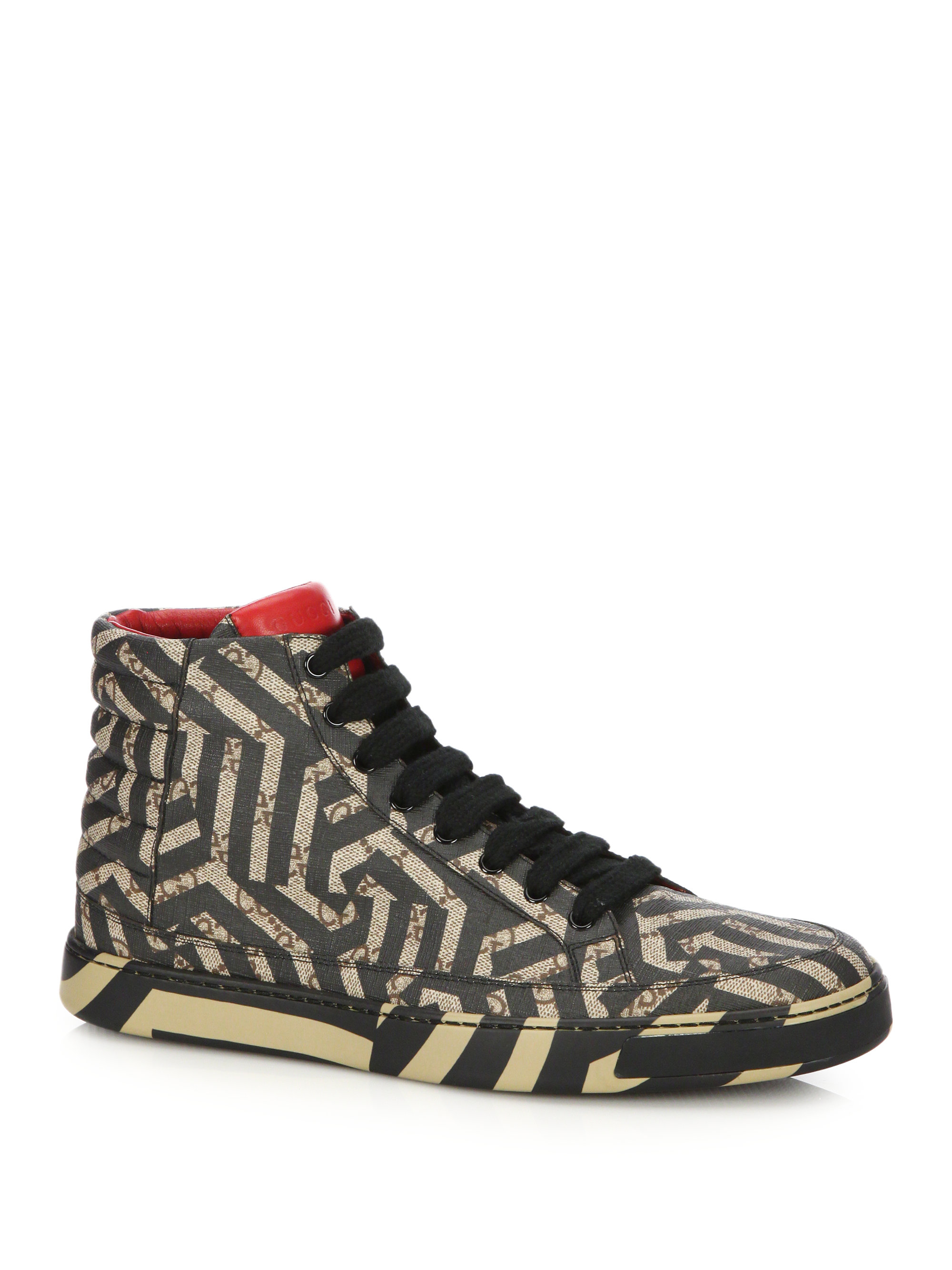 gucci gg caleido high top sneakers in multicolor for men. Black Bedroom Furniture Sets. Home Design Ideas