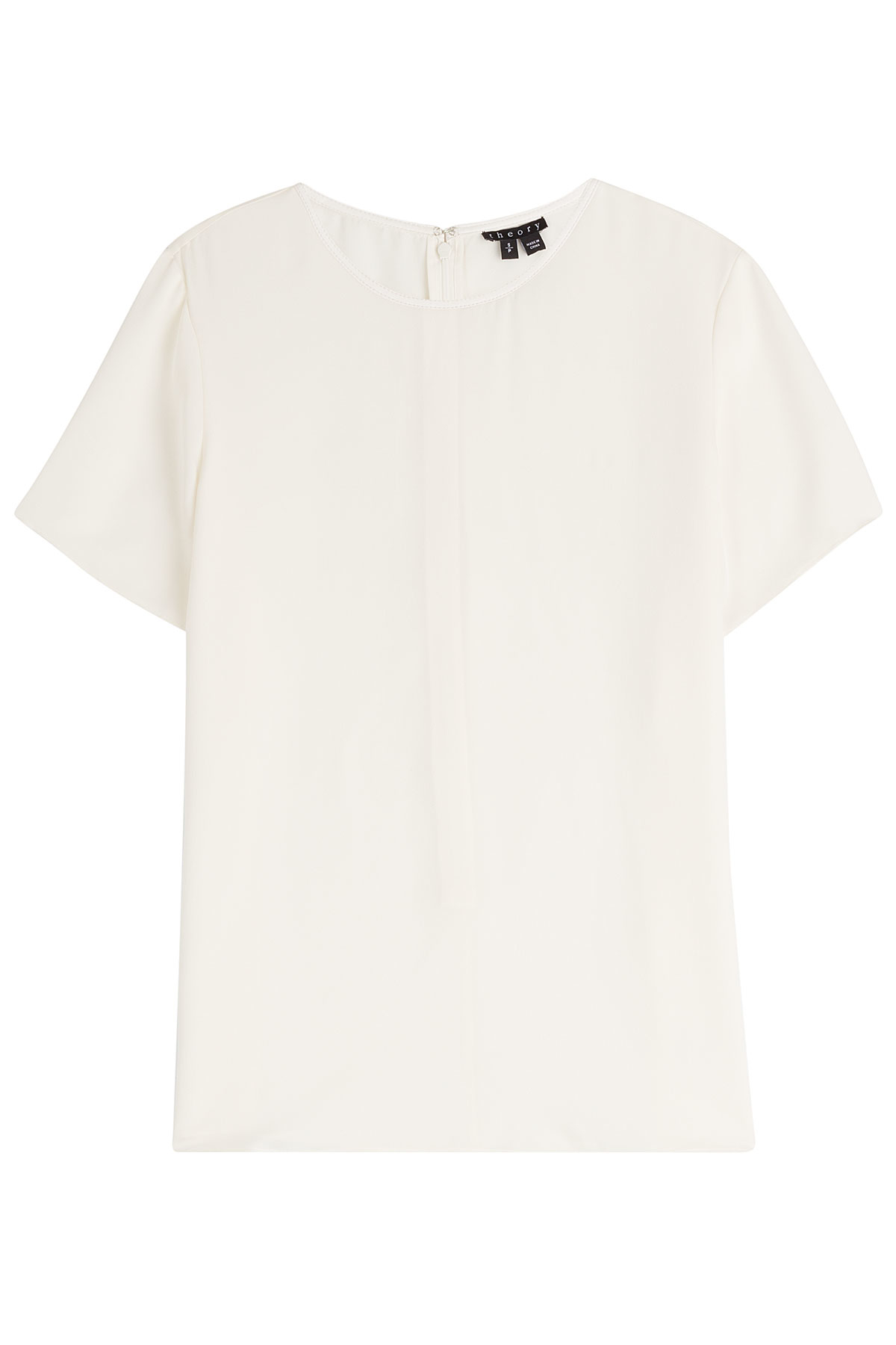 Theory silk t shirt white in white lyst for Silk white t shirt