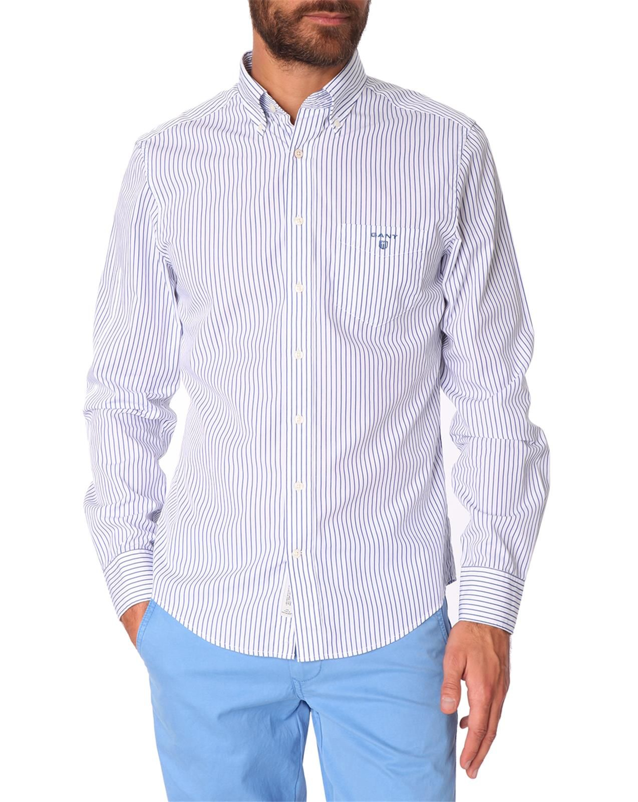 Gant White And Navy Striped Button Down Shirt In White For
