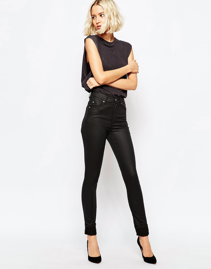 d1273a516a38 Cheap Monday Second Skin High Waist Coated Skinny Jeans in Black - Lyst
