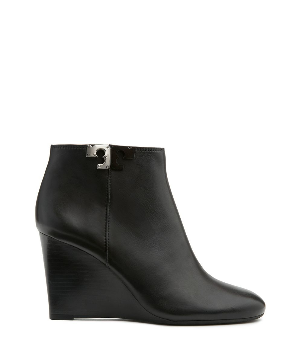 0fcf33c10cb3 Lyst - Tory Burch Lowell Leather Wedge Booties in Black