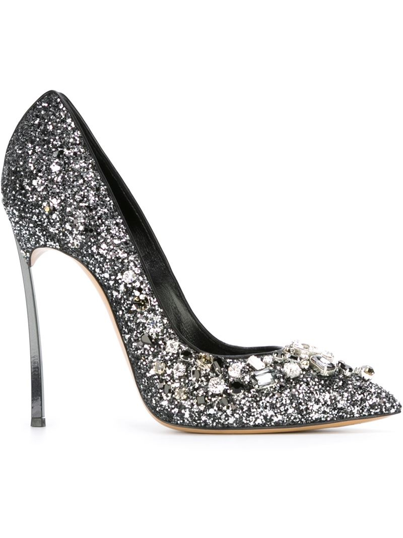 Lyst Casadei Glitter Leather Metallic Pumps In Embellished rrqdxRwz