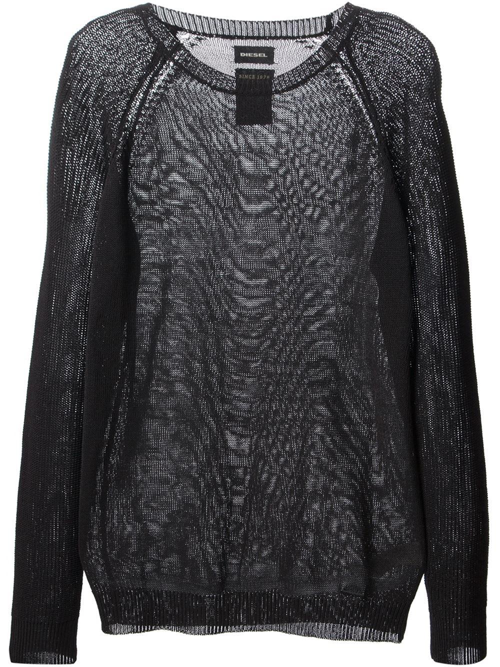 Diesel Sheer Woven Sweater in Black for Men | Lyst