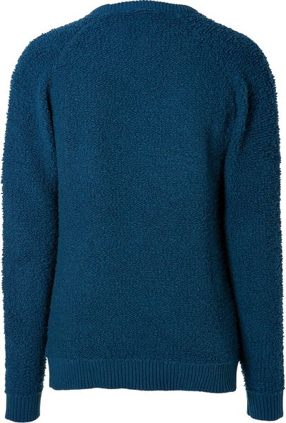 marc by marc jacobs wool fleece annarbor pullover in poseidon in blue for men lyst. Black Bedroom Furniture Sets. Home Design Ideas