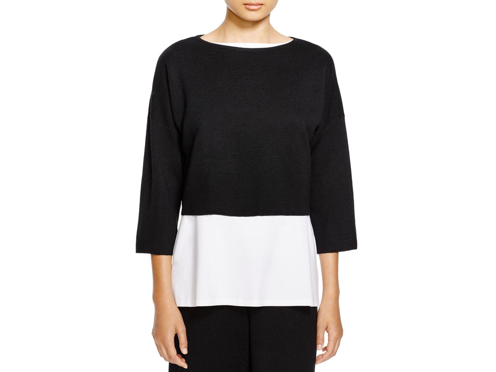 Eileen fisher Merino Wool Cropped Sweater in Black | Lyst