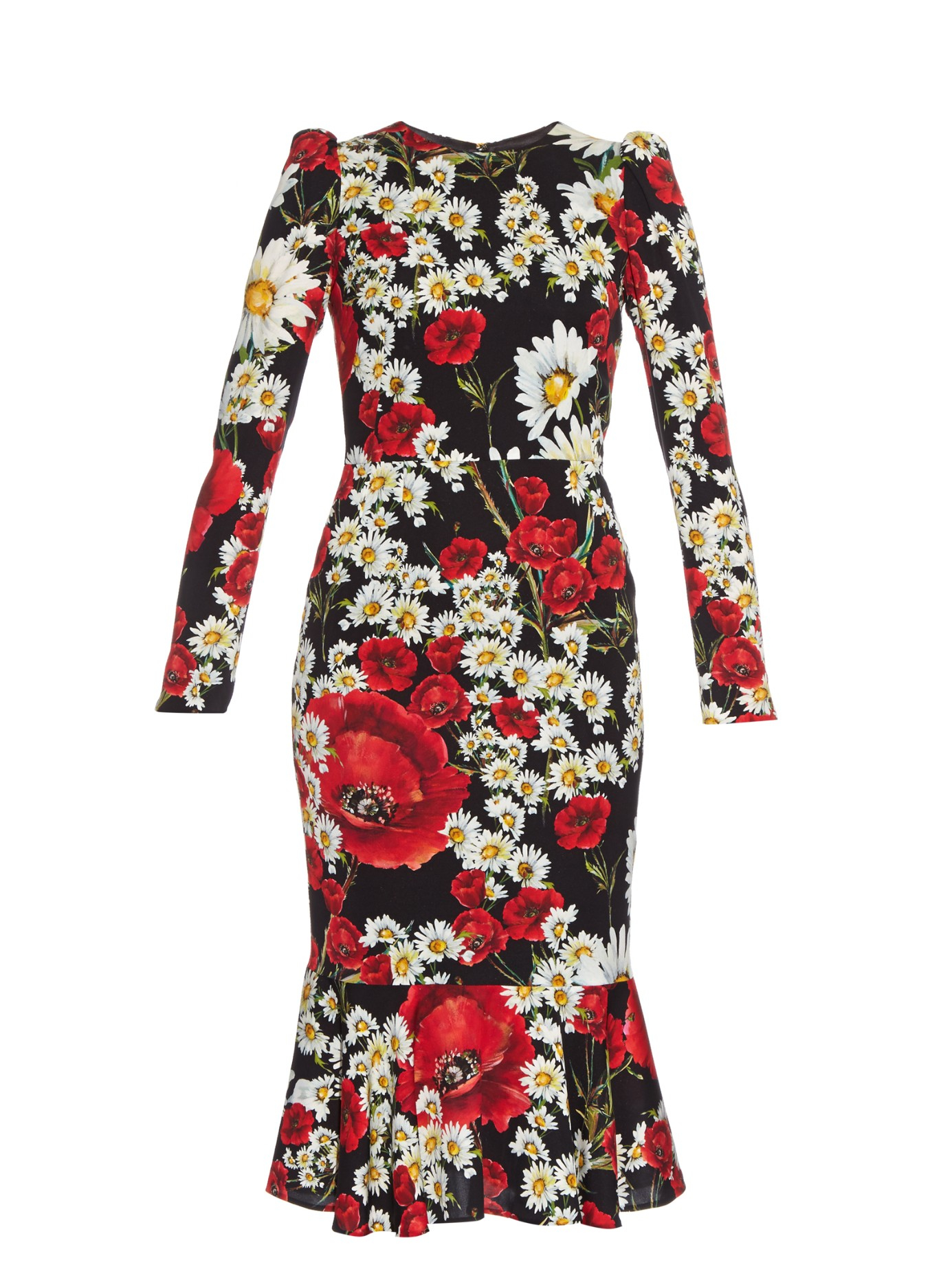 4abcc5b1 Dolce & Gabbana Poppy And Daisy-print Dress in Red - Lyst
