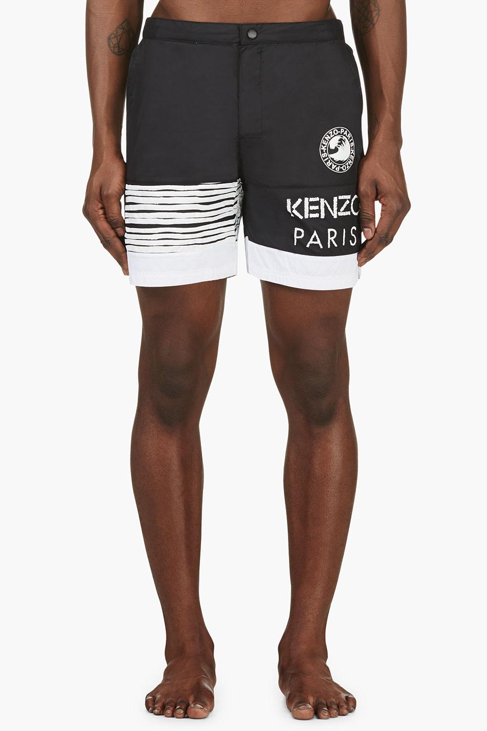 201d63df KENZO Black Logo Swim Shorts in White for Men - Lyst