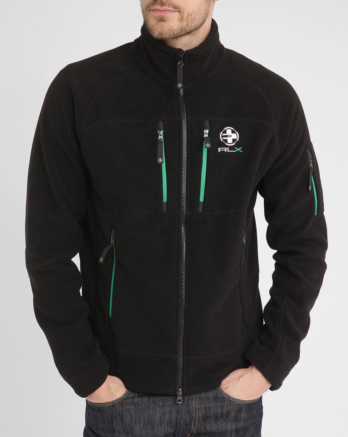 Polo Ralph Lauren Black Multi Zip Green Contrast Fleece