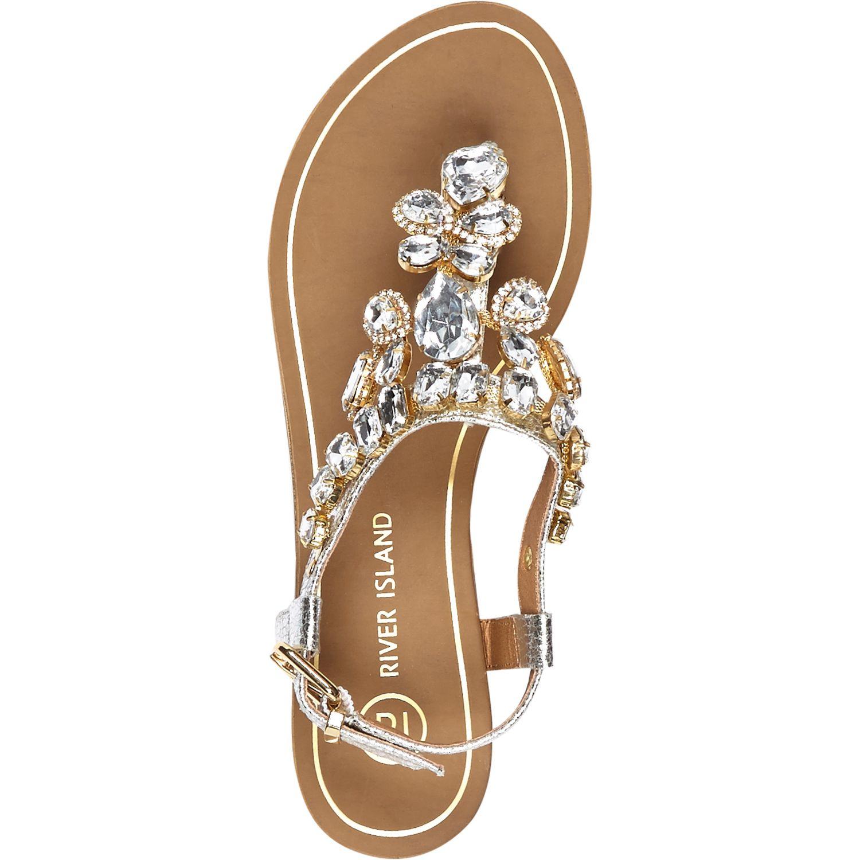 808f798d912 River Island Silver Gemstone Embellished Sandals in Metallic - Lyst