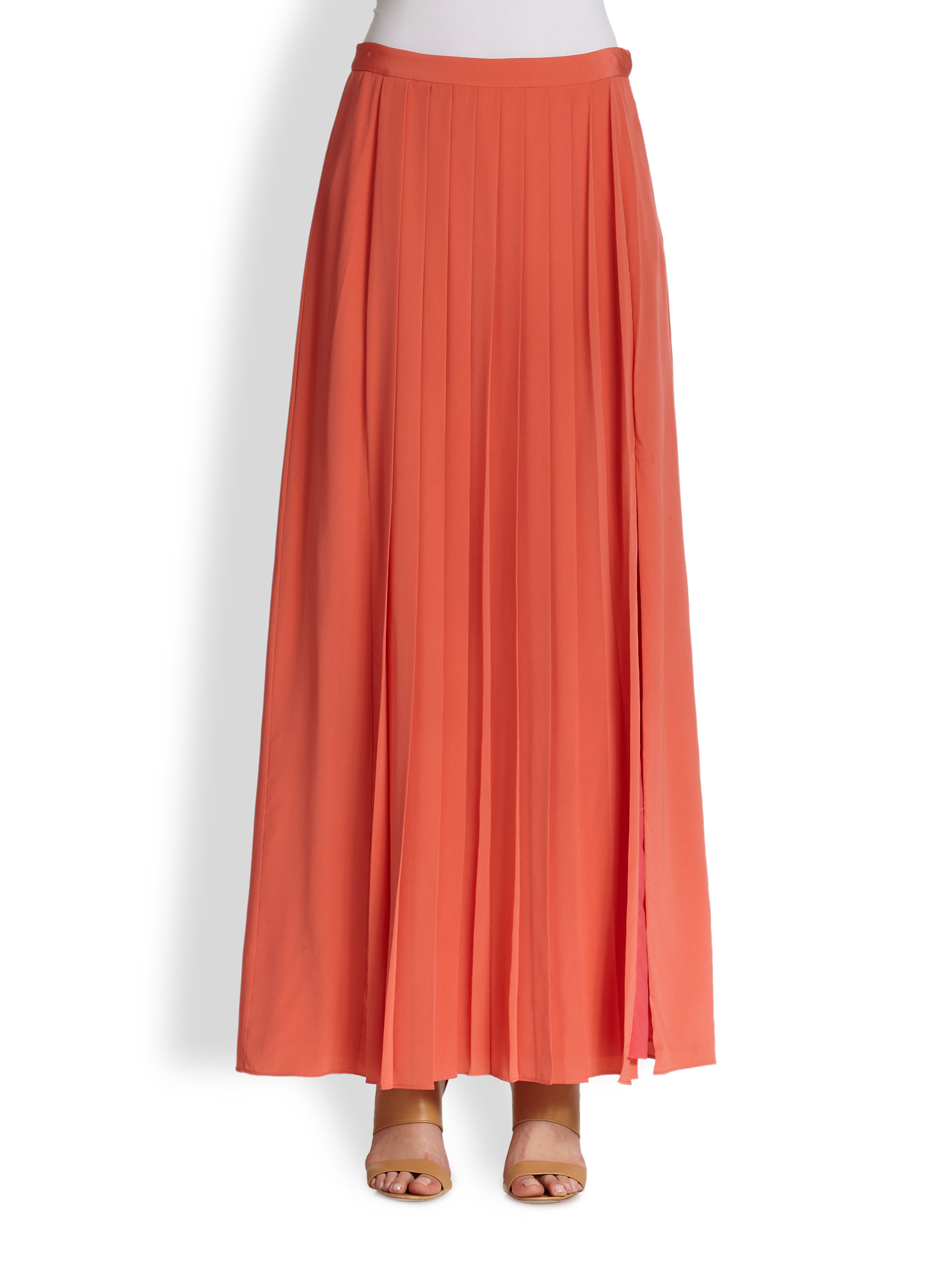 Tibi Silk Pleated Maxi Skirt in Red | Lyst