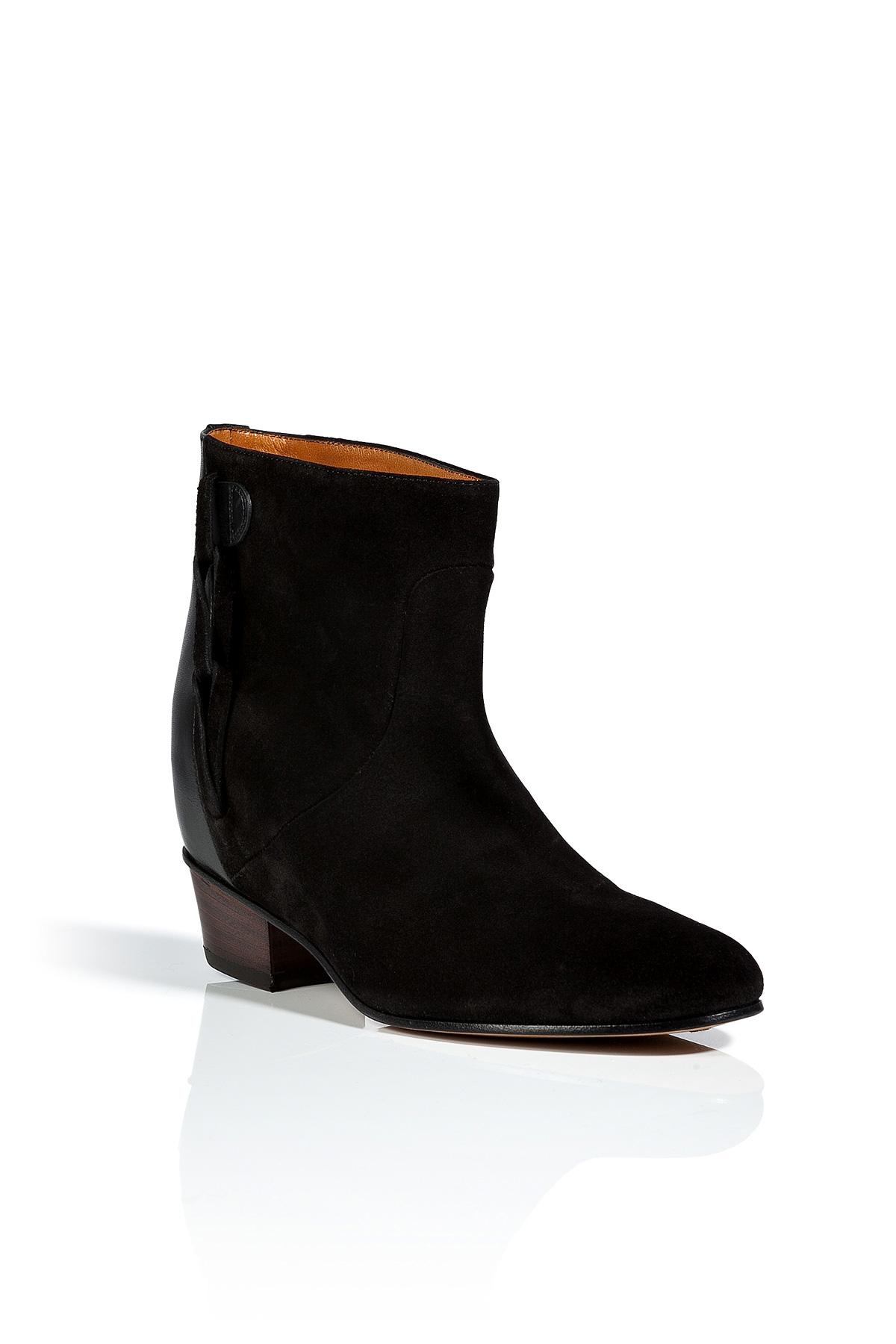 golden goose deluxe brand suede milk boots in black in