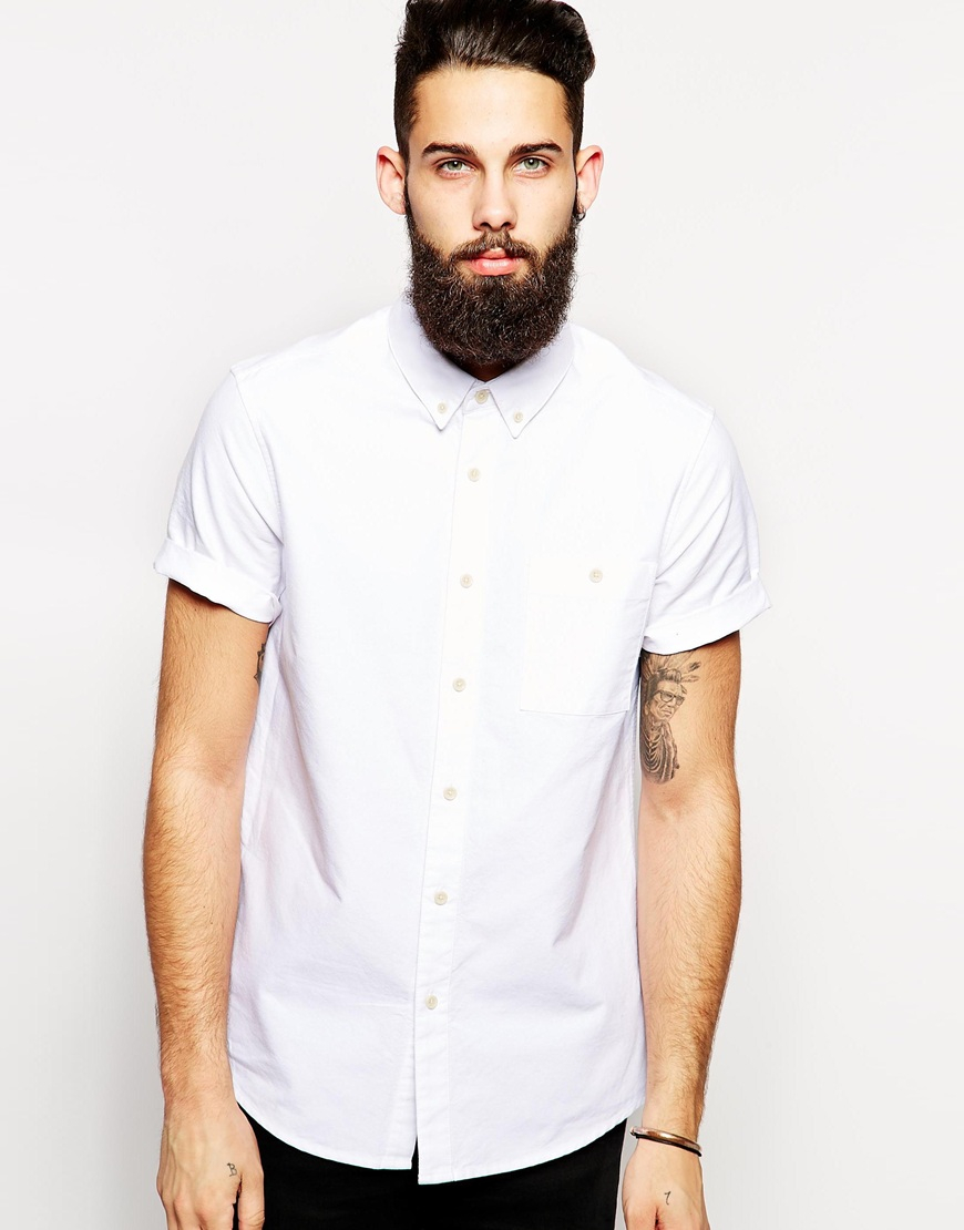 Lyst Asos Oxford Shirt In White With Short Sleeves In