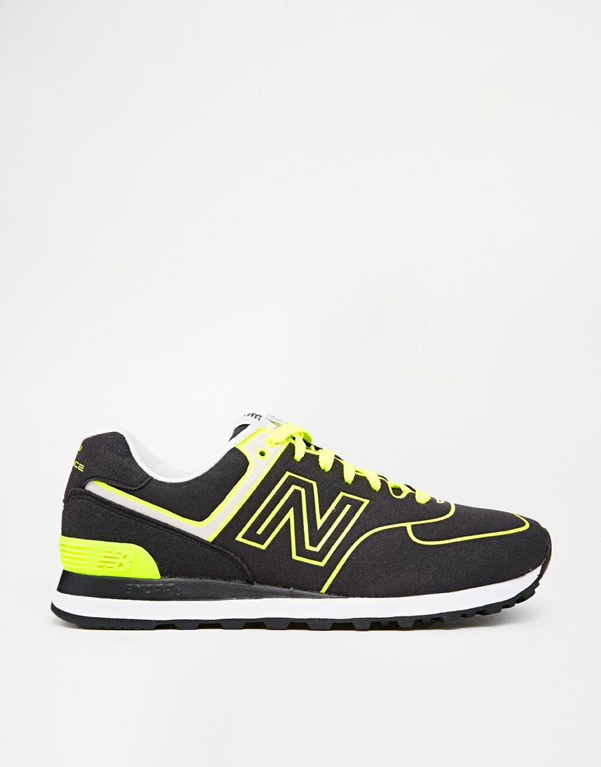 Lyst - New Balance 574 Neon Pack Trainers in Black for Men 940f8c8025