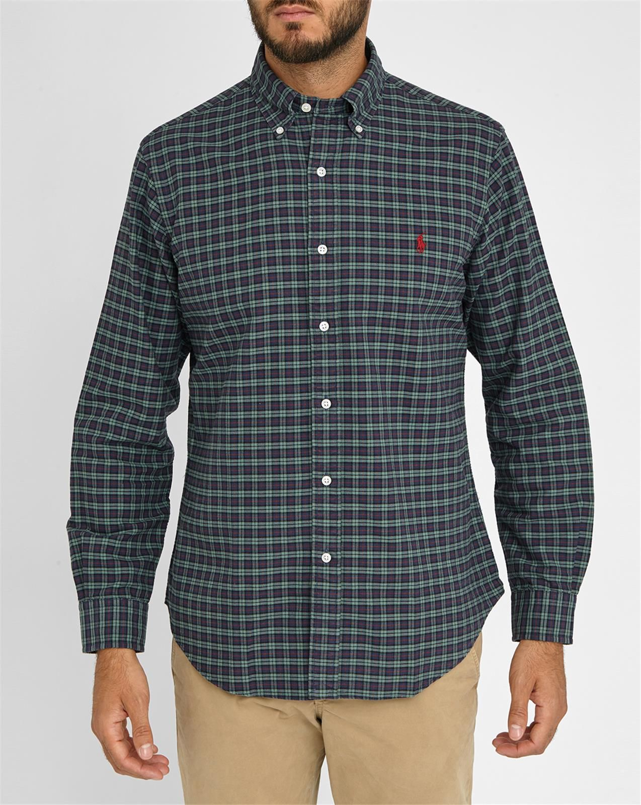 Polo ralph lauren green and blue and red checked custom for Red and green checked shirt
