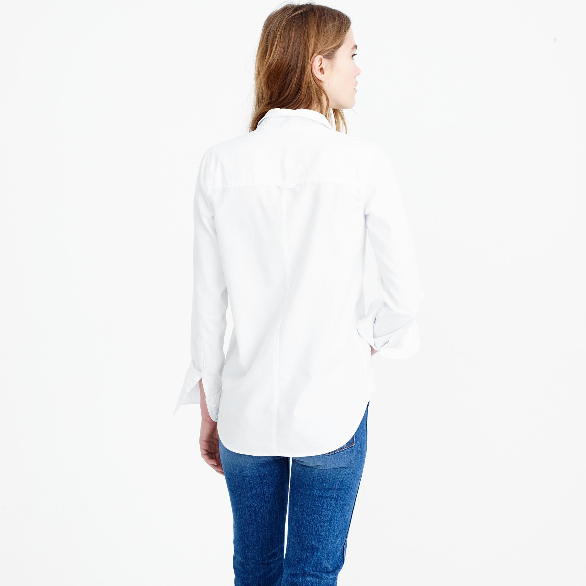 J Crew Boy Shirt In Cotton Tencel Oxford In White Lyst