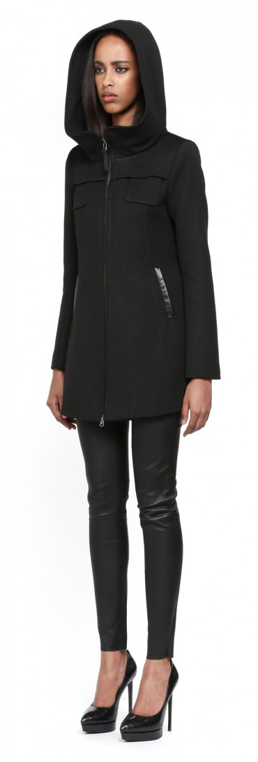 Mackage Zahara-sp Short Black Winter Wool Coat with Hood in Black ...