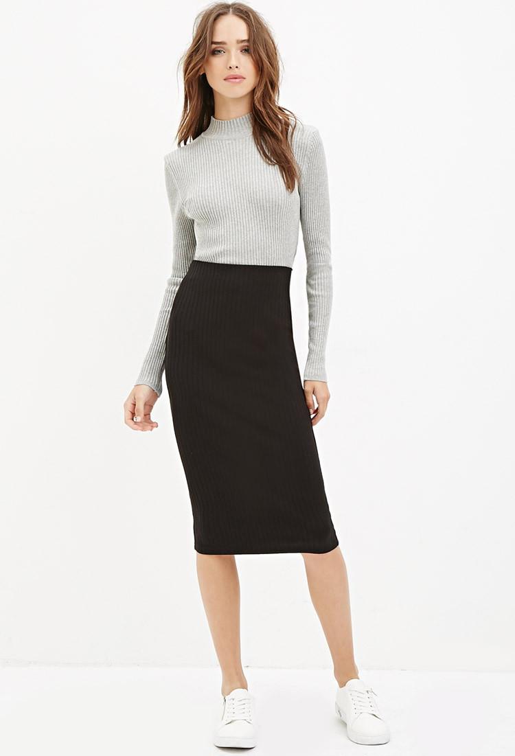 forever 21 ribbed knit midi skirt in black lyst