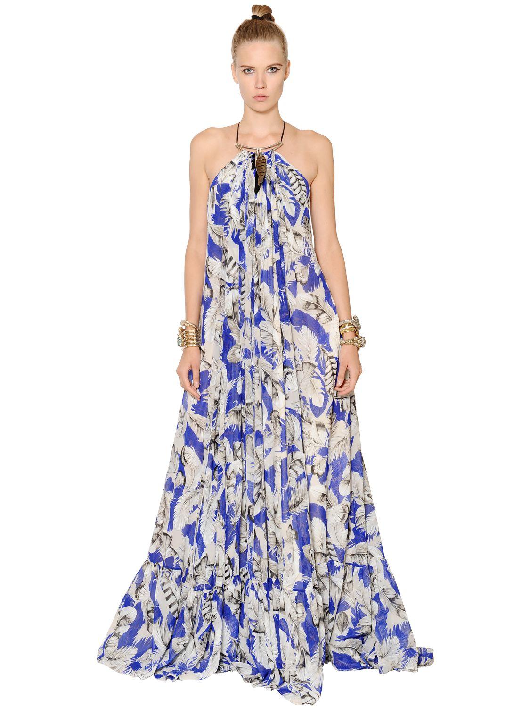 77545f995385 Roberto Cavalli Embellished Feathers Print Chiffon Dress in Blue - Lyst