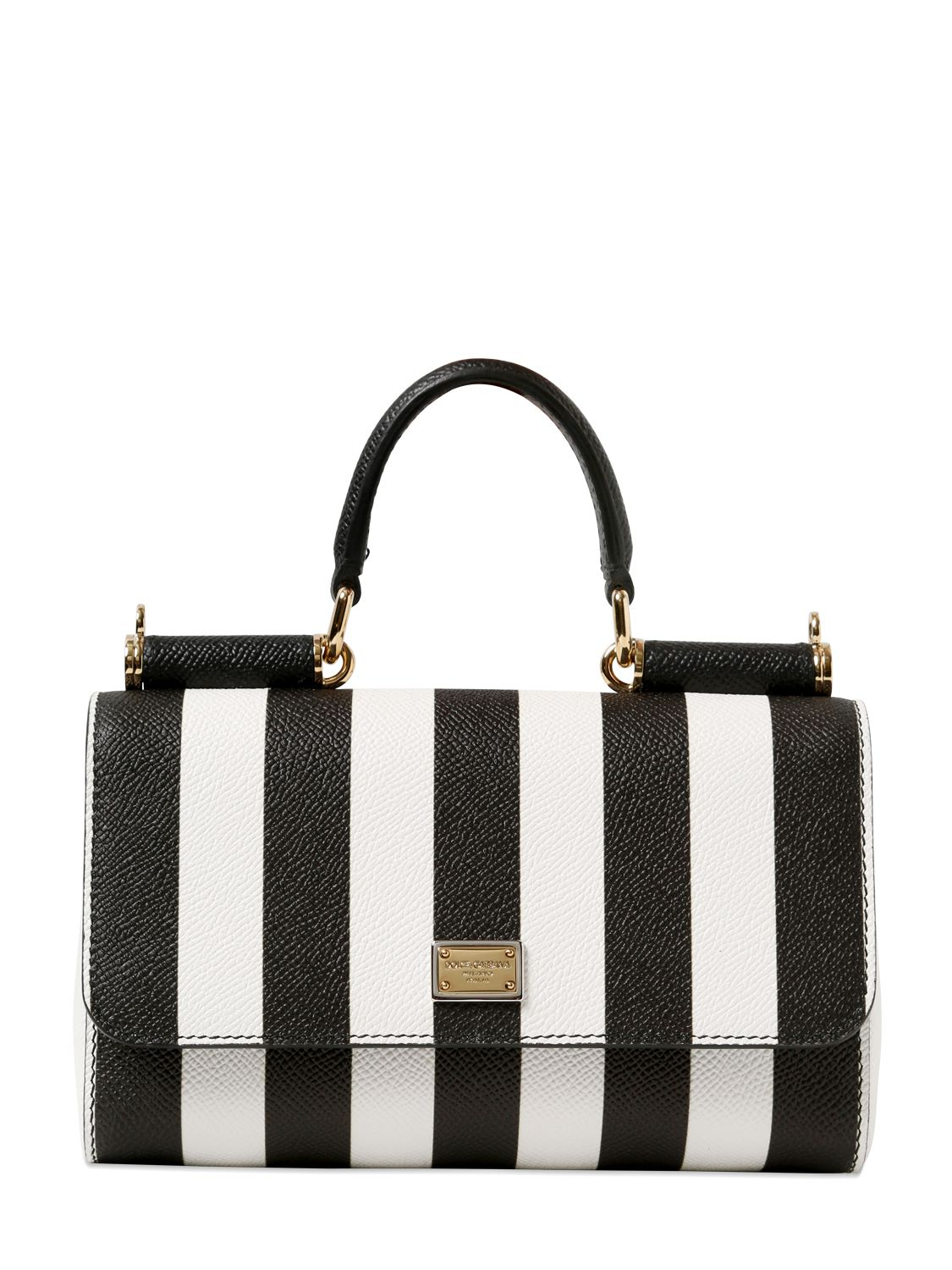 Lyst Dolce Amp Gabbana Jeans Striped Dauphine Leather Bag
