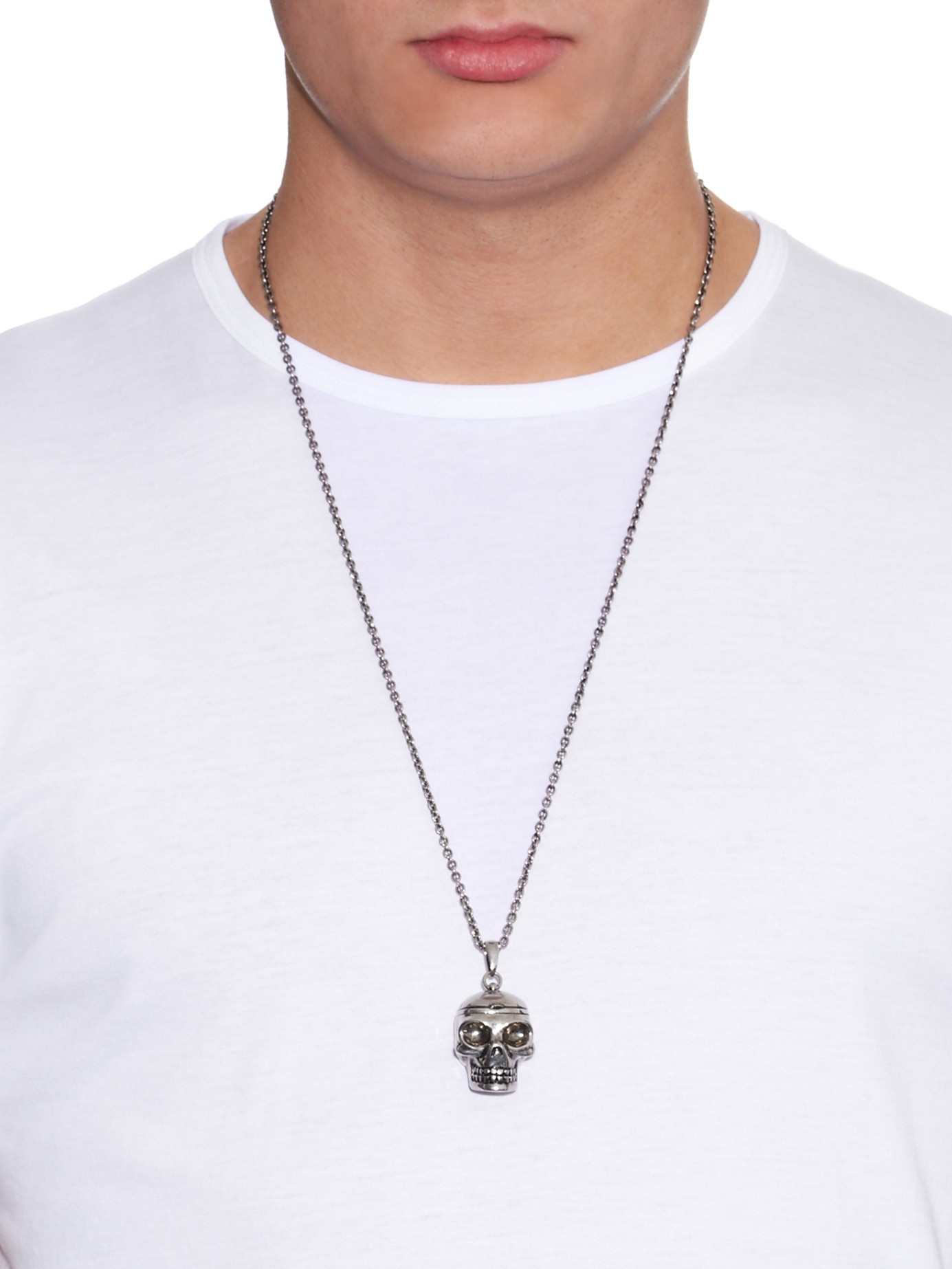 Lyst Alexander Mcqueen Silvertone Palladio Skull Necklace in