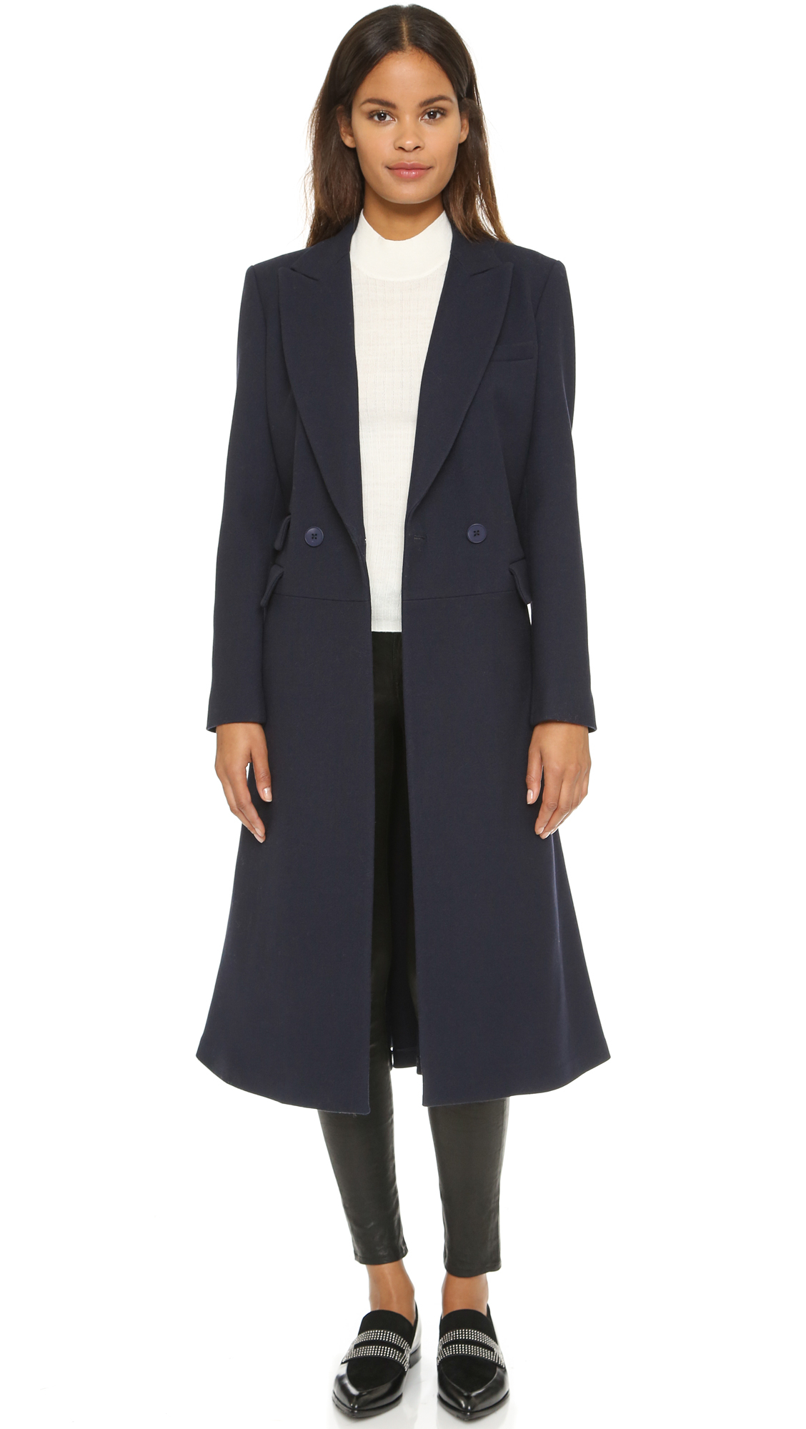 Dkny Long Sleeve Double Breasted Notch Collar Coat - Perfect Navy