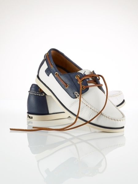polo ralph bienne boat shoe in white for white