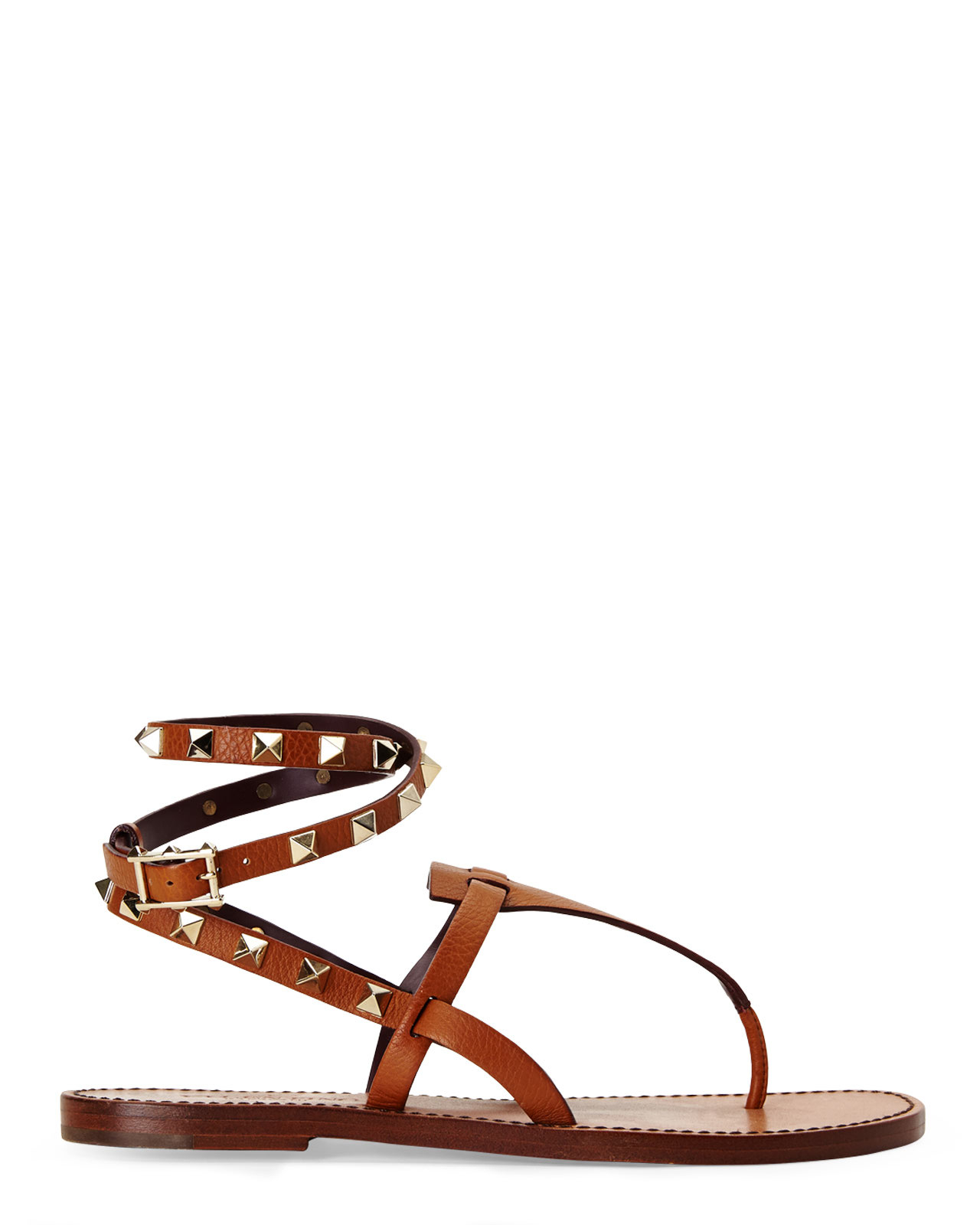 3b1bc1e0ebcd Lyst - Valentino Tan Rockstud Ankle-wrap Thong Sandals in Brown