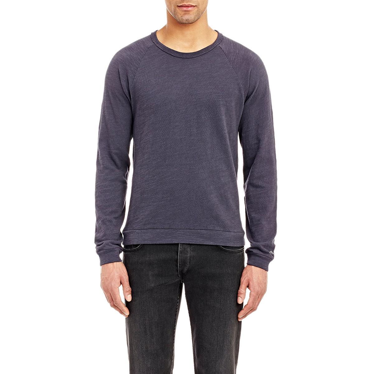 Rag bone men 39 s long sleeve raglan t shirt in blue for for Rag and bone mens shirts sale