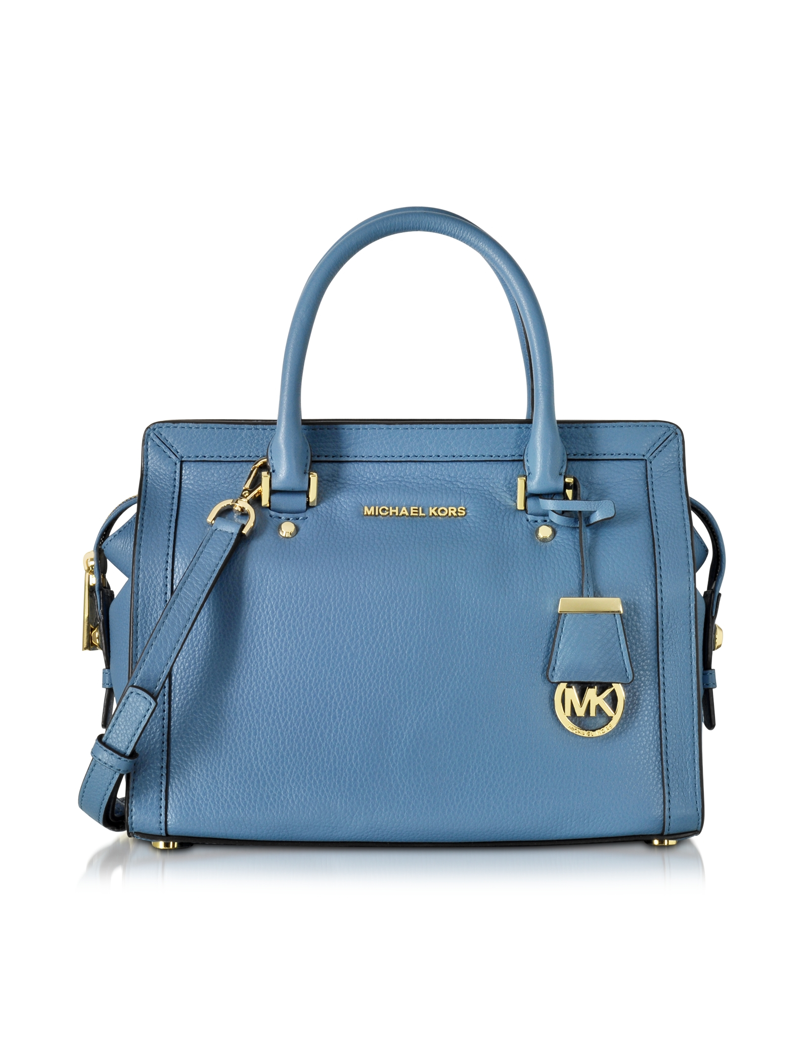 ff55f4373ca3 Lyst - Michael Kors Collins Medium Leather Satchel Bag in Blue